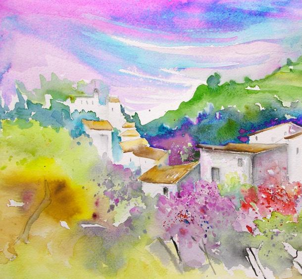 Watercolour sketch of Gatova, Sierra Calderona, Spain