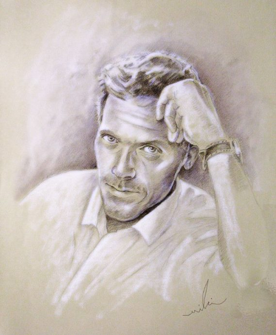 Hugh Laurie, by Miki - Brown Pencil and White Pastel, 60 x 50 cm, 2009